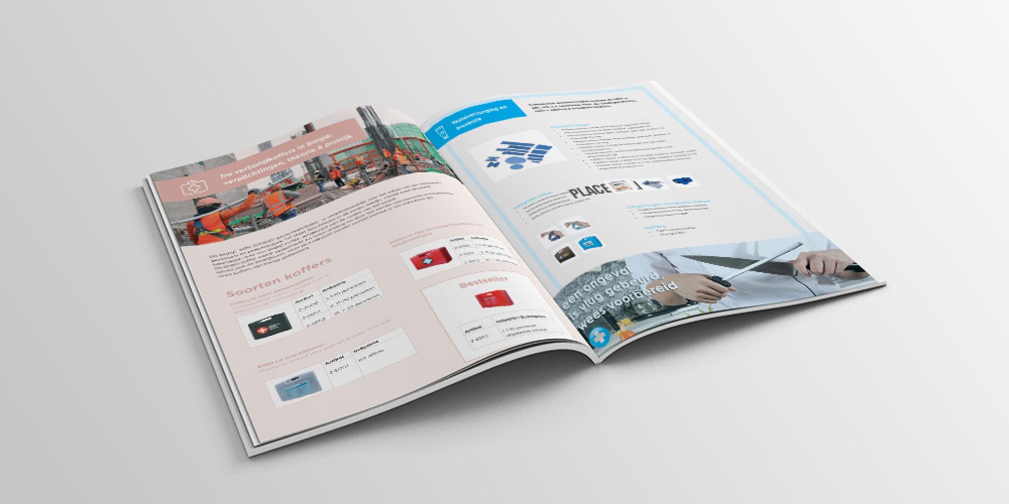 Binnenwerk van de brochure voor EcareXpress