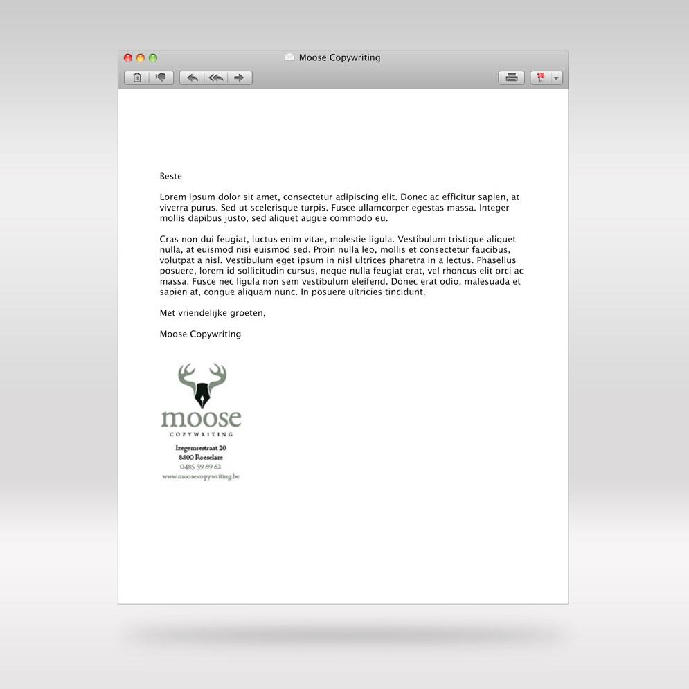 E-mailhandtekening voor Moose Copywriting
